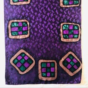 "Silk Purple/Gold/Green Print 57"" x 13.5"" Scarf"